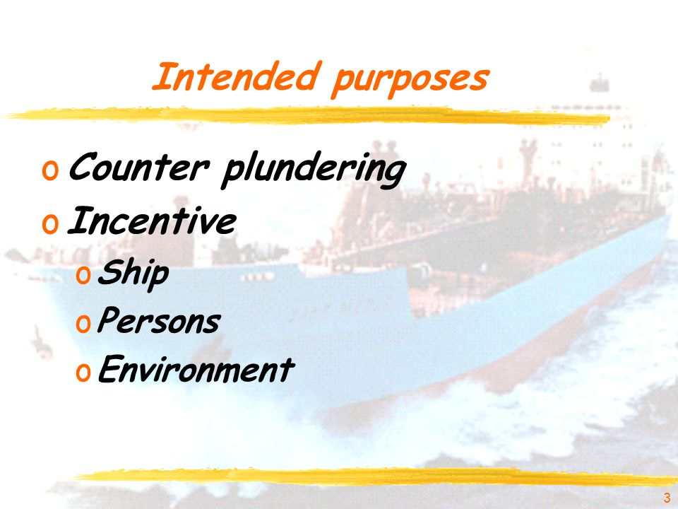 Intended purposes oCounter plundering oIncentive oShip oPersons oEnvironment 3