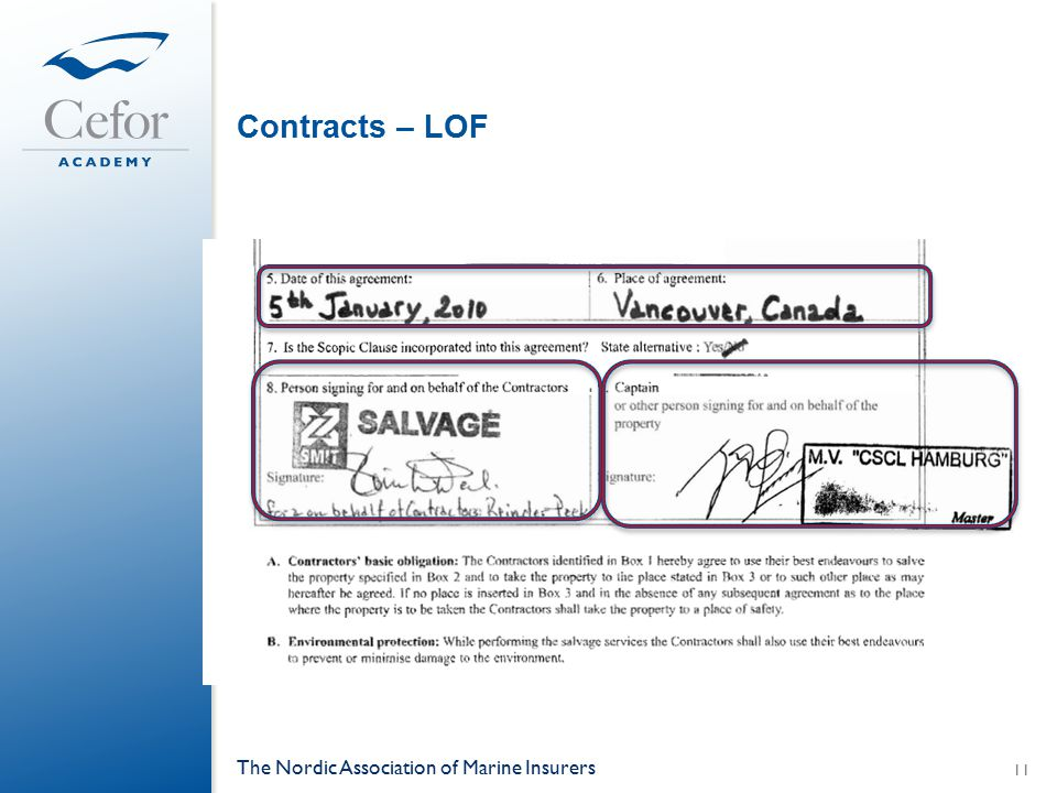 Contracts – LOF The Nordic Association of Marine Insurers 11