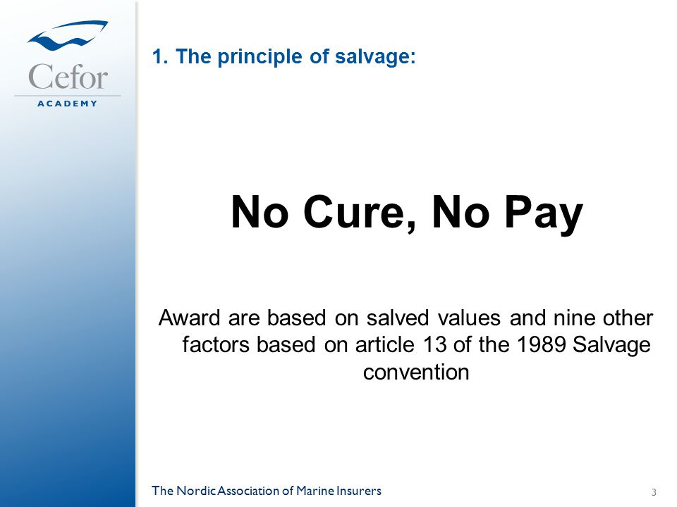1. The principle of salvage: No Cure, No Pay Award are based on salved values and nine other factors based on article 13 of the 1989 Salvage conventio