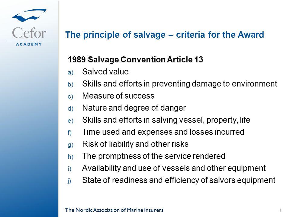 Salvage Case study, cont.