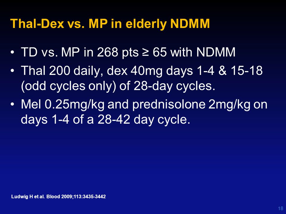 Thal-Dex vs. MP in elderly NDMM TD vs. MP in 268 pts ≥ 65 with NDMM Thal 200 daily, dex 40mg days 1-4 & 15-18 (odd cycles only) of 28-day cycles. Mel