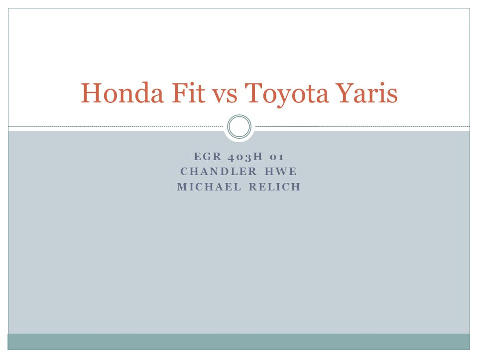 EGR 403H 01 CHANDLER HWE MICHAEL RELICH Honda Fit vs Toyota Yaris