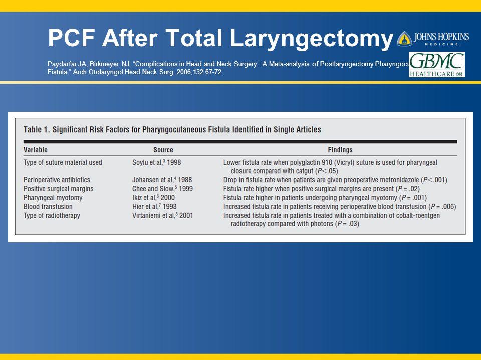 PCF After Total Laryngectomy Paydarfar JA, Birkmeyer NJ.