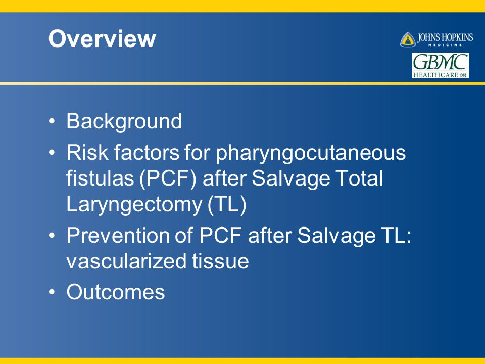 Overview Background Risk factors for pharyngocutaneous fistulas (PCF) after Salvage Total Laryngectomy (TL) Prevention of PCF after Salvage TL: vascularized tissue Outcomes
