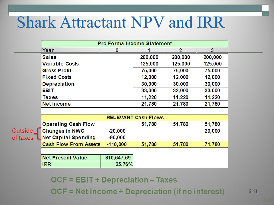 6-11 Shark Attractant NPV and IRR 9-11 OCF = EBIT + Depreciation – Taxes OCF = Net Income + Depreciation (if no interest) Outside of taxes