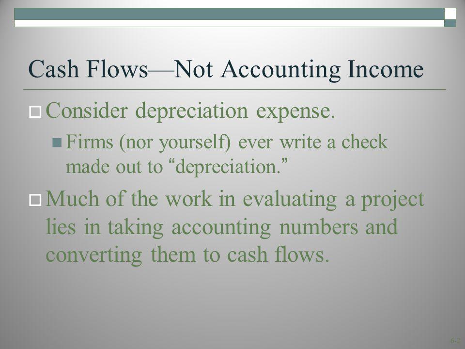 6-2 Cash Flows—Not Accounting Income  Consider depreciation expense.