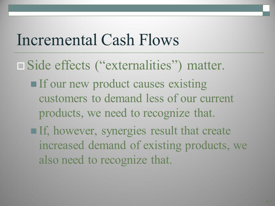 6-4 Incremental Cash Flows  Side effects ( externalities ) matter.