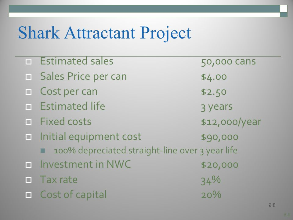6-8 Shark Attractant Project  Estimated sales50,000 cans  Sales Price per can$4.00  Cost per can$2.50  Estimated life3 years  Fixed costs$12,000/year  Initial equipment cost$90,000 100% depreciated straight-line over 3 year life  Investment in NWC$20,000  Tax rate34%  Cost of capital20% 9-8