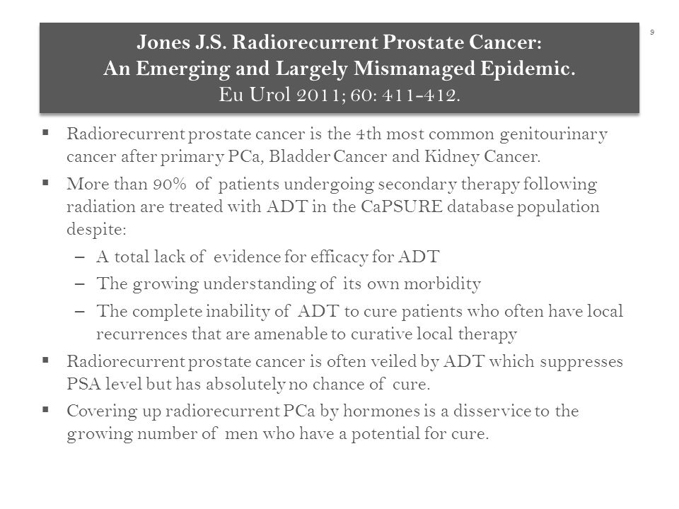  Radiorecurrent prostate cancer is the 4th most common genitourinary cancer after primary PCa, Bladder Cancer and Kidney Cancer.
