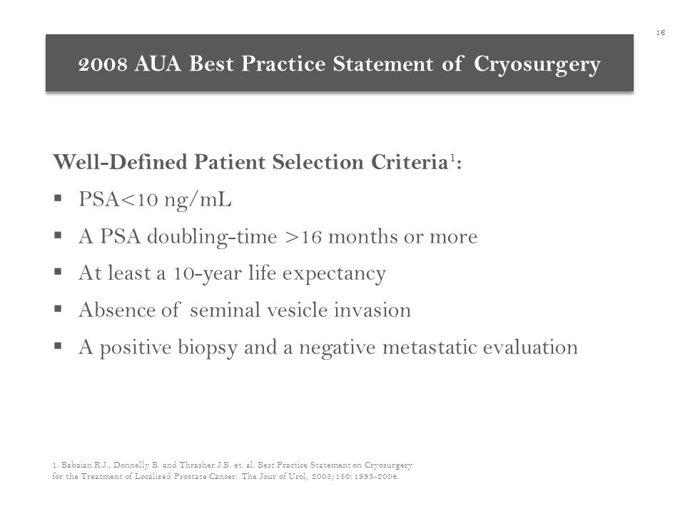 2008 AUA Best Practice Statement of Cryosurgery Well-Defined Patient Selection Criteria 1 :  PSA<10 ng/mL  A PSA doubling-time >16 months or more  At least a 10-year life expectancy  Absence of seminal vesicle invasion  A positive biopsy and a negative metastatic evaluation 1.