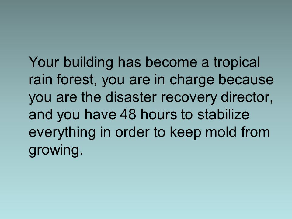 Your building has become a tropical rain forest, you are in charge because you are the disaster recovery director, and you have 48 hours to stabilize everything in order to keep mold from growing.