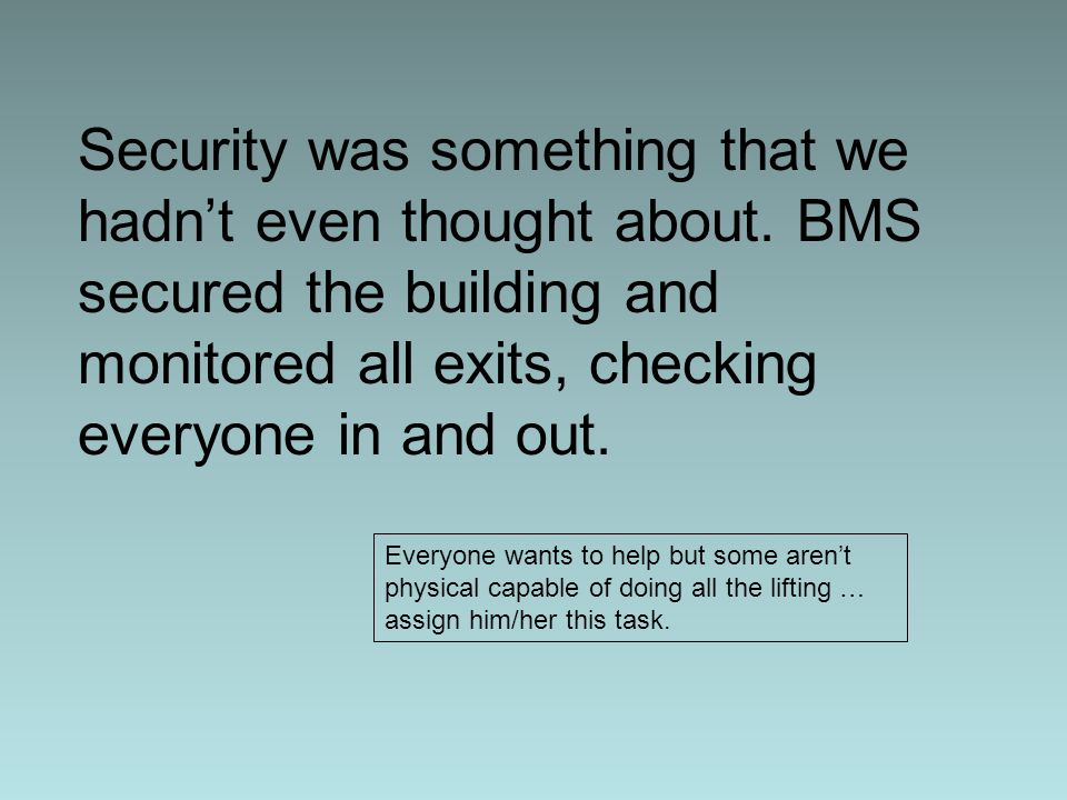 Security was something that we hadn't even thought about.