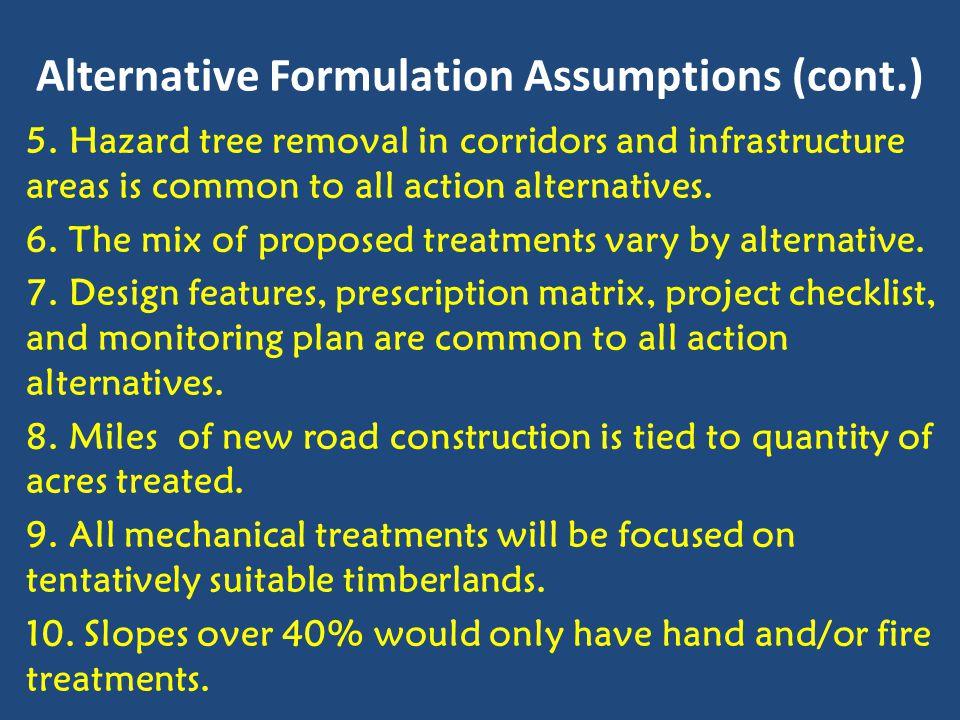 Alternative Formulation Assumptions (cont.) 5.