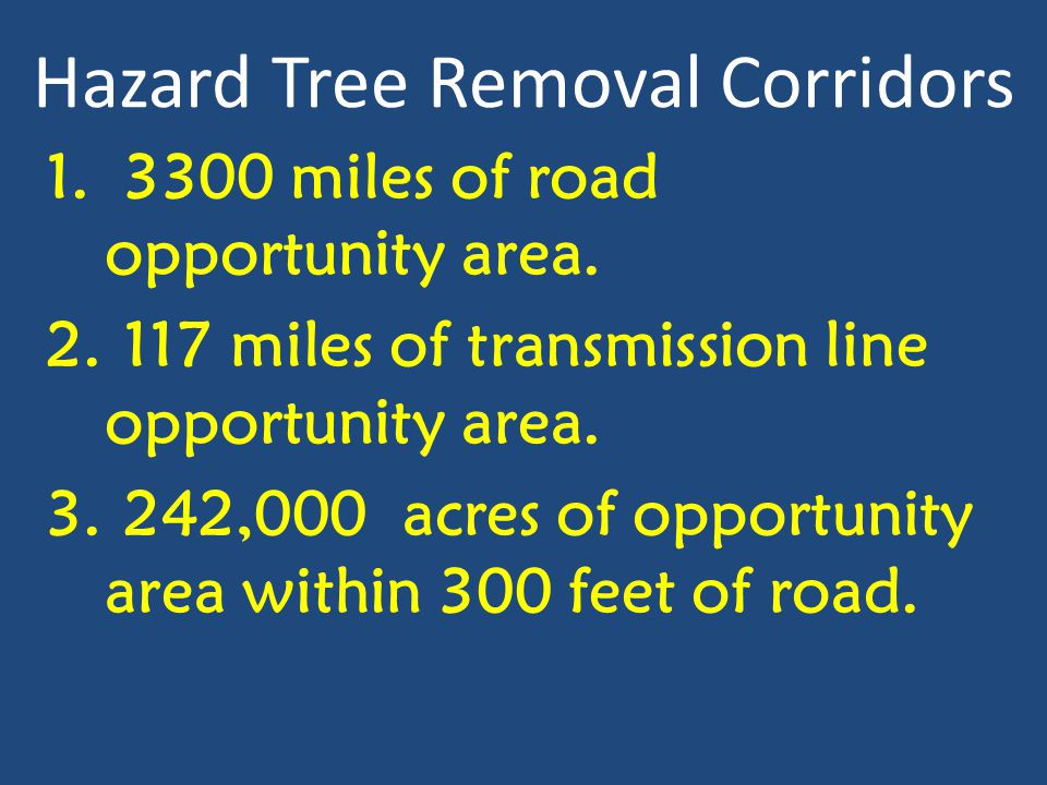 Hazard Tree Removal Corridors 1. 3300 miles of road opportunity area. 2. 117 miles of transmission line opportunity area. 3. 242,000 acres of opportun