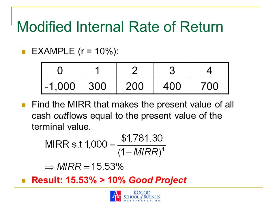 Modified Internal Rate of Return EXAMPLE (r = 10%): Find the MIRR that makes the present value of all cash outflows equal to the present value of the terminal value.