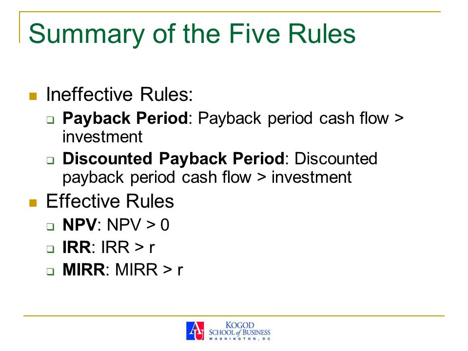 Summary of the Five Rules Ineffective Rules:  Payback Period: Payback period cash flow > investment  Discounted Payback Period: Discounted payback period cash flow > investment Effective Rules  NPV: NPV > 0  IRR: IRR > r  MIRR: MIRR > r