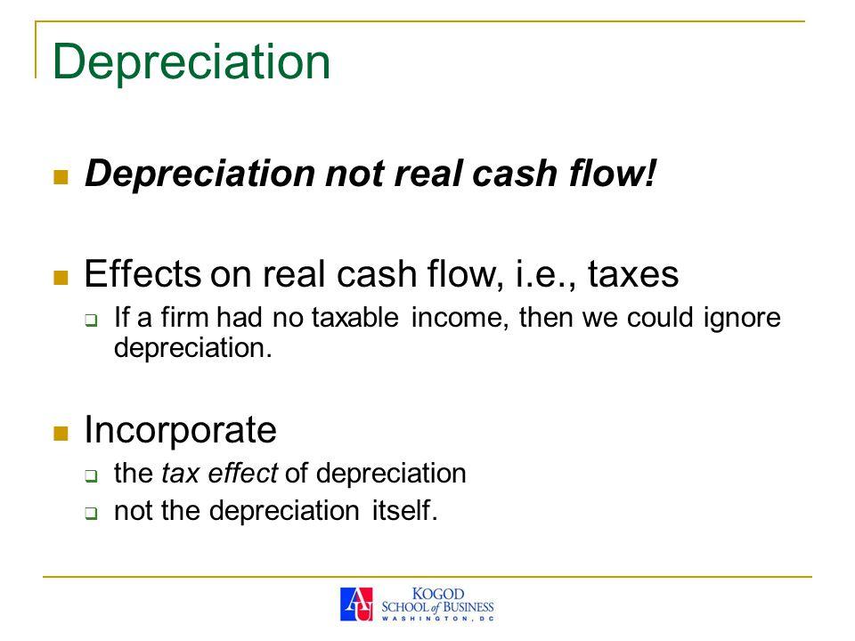 Depreciation not real cash flow.