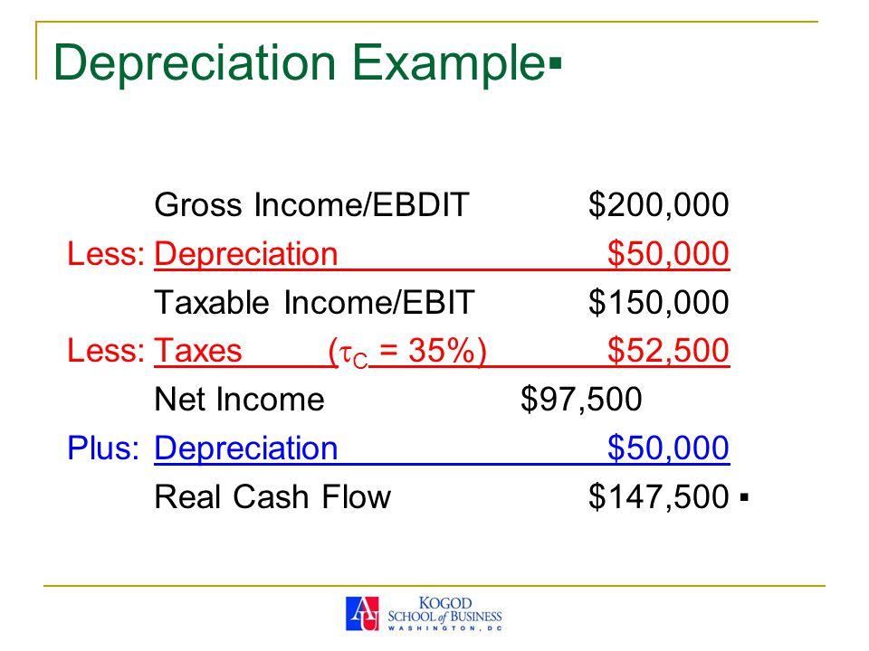 Depreciation Example▪ Gross Income/EBDIT$200,000 Less:Depreciation $50,000 Taxable Income/EBIT$150,000 Less:Taxes(  C = 35%) $52,500 Net Income $97,500 Plus:Depreciation $50,000 Real Cash Flow$147,500 ▪
