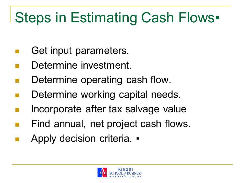 Steps in Estimating Cash Flows▪ Get input parameters.