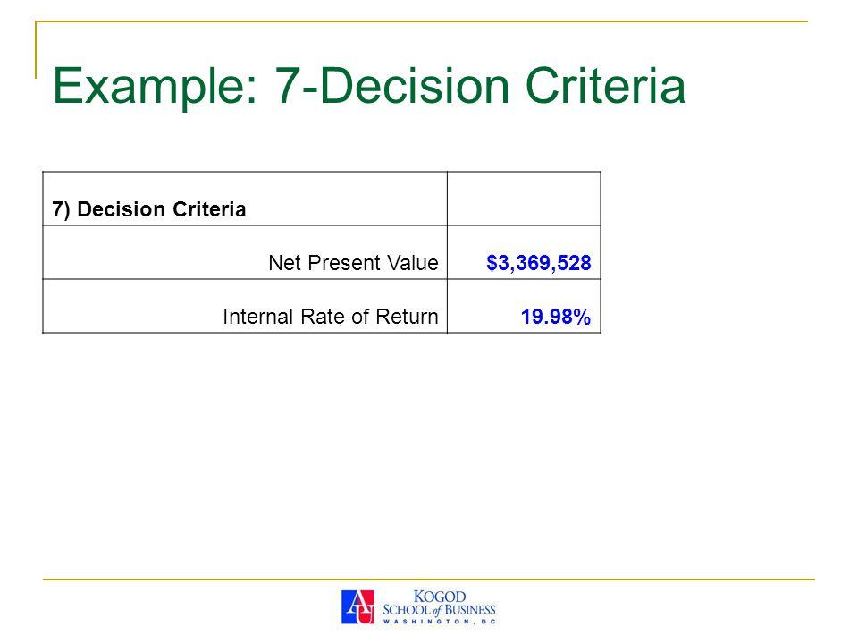 Example: 7-Decision Criteria 7) Decision Criteria Net Present Value$3,369,528 Internal Rate of Return19.98%