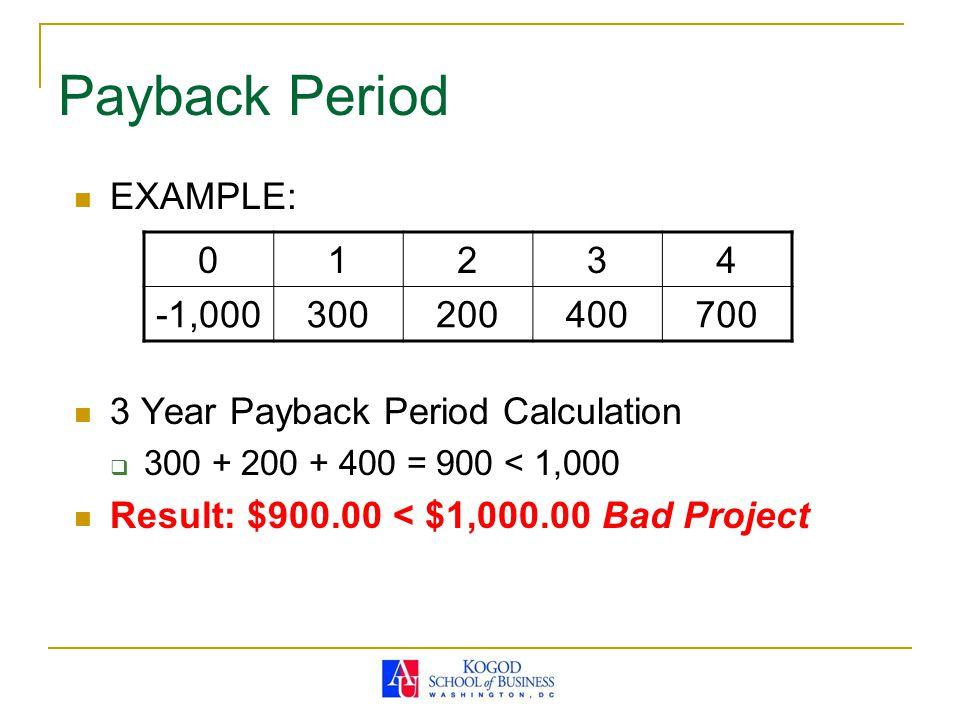 Example: 3-Operating CF Year 2-5 3) Operating Cash Flow 0 12345 Sales revenue $15,000,000$30,600,000$24,969,600$19,101,744$6,494,593 Less: variable costs ($7,500,000)($15,000,000)($12,000,000)($9,000,000)($3,000,000) Less: fixed costs ($50,000)($52,500)($55,125)($57,881)($60,775) Equals: EBDIT $7,450,000$15,547,500$12,914,475$10,043,863$3,433,818 Less: depreciation ($4,000,000)($6,400,000)($3,840,000)($2,304,000) Equals: EBIT $3,450,000$9,147,500$9,074,475$7,739,863$1,129,818 Minus: taxes ($1,311,000)($3,476,050)($3,448,301)($2,941,148)($429,331) Equals: net income $2,139,000$5,671,450$5,626,175$4,798,715$700,487 Plus: depreciation $4,000,000$6,400,000$3,840,000$2,304,000 Equals: operating cash flow $6,139,000$12,071,450$9,466,175$7,102,715$3,004,487