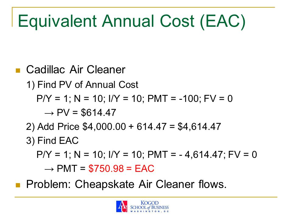 Equivalent Annual Cost (EAC) Cadillac Air Cleaner 1) Find PV of Annual Cost P/Y = 1; N = 10; I/Y = 10; PMT = -100; FV = 0 → PV = $614.47 2) Add Price $4,000.00 + 614.47 = $4,614.47 3) Find EAC P/Y = 1; N = 10; I/Y = 10; PMT = - 4,614.47; FV = 0 → PMT = $750.98 = EAC Problem: Cheapskate Air Cleaner flows.
