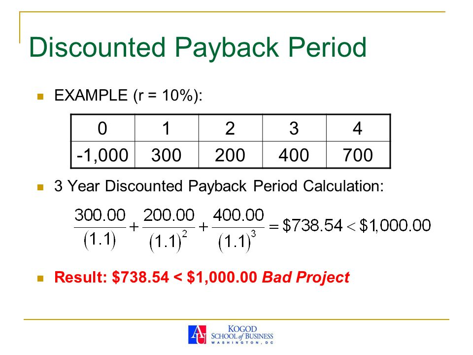 Net Present Value (NPV) EXAMPLE (r = 10%): NPV Calculation: Result: $216.65 > 0 Good Project 01234 -1,000300200400700