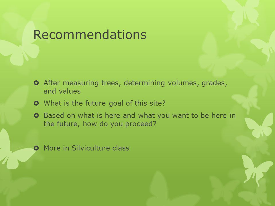 Recommendations  After measuring trees, determining volumes, grades, and values  What is the future goal of this site?  Based on what is here and w