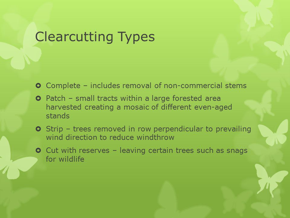 Clearcutting Types  Complete – includes removal of non-commercial stems  Patch – small tracts within a large forested area harvested creating a mosa