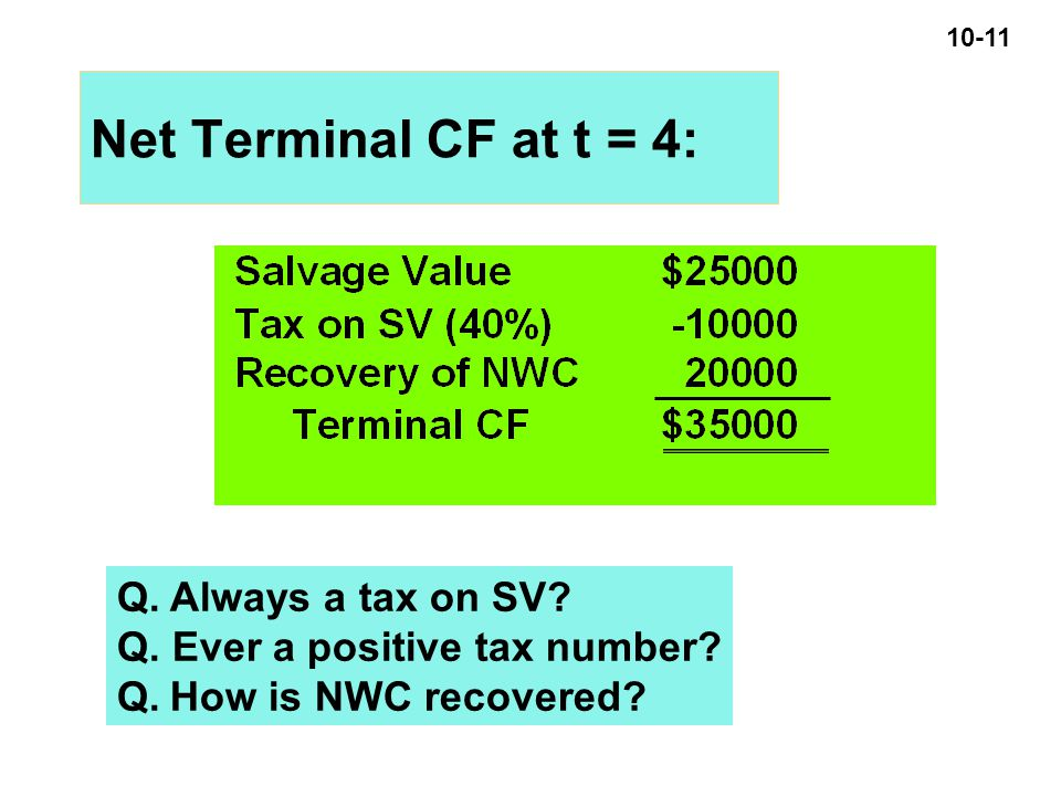 10-11 Net Terminal CF at t = 4: Q. Always a tax on SV.