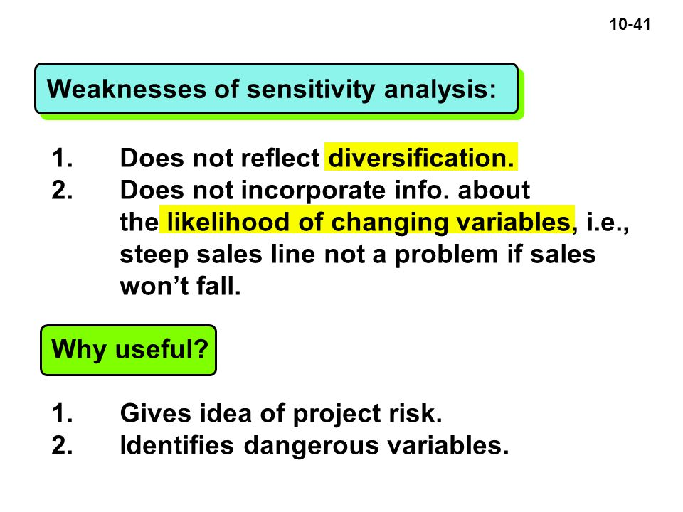 10-41 Weaknesses of sensitivity analysis: 1. Does not reflect diversification.