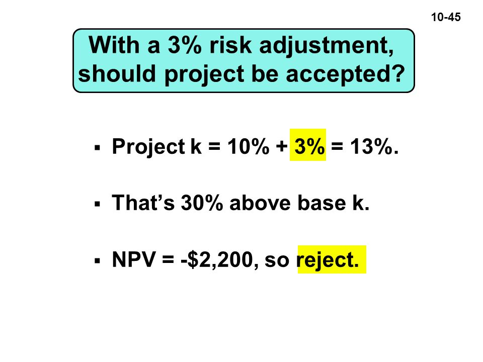 10-45 With a 3% risk adjustment, should project be accepted.