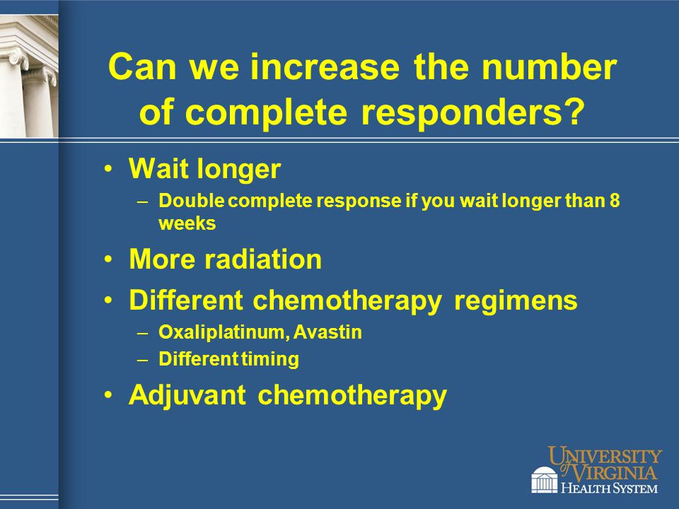 Can we increase the number of complete responders? Wait longer –Double complete response if you wait longer than 8 weeks More radiation Different chem