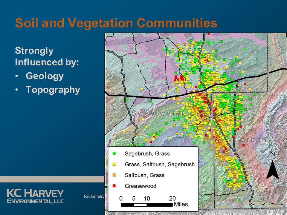 Reclamation Planning for Energy Development June 3, 2013 Soil and Vegetation Communities Strongly influenced by: Geology Topography