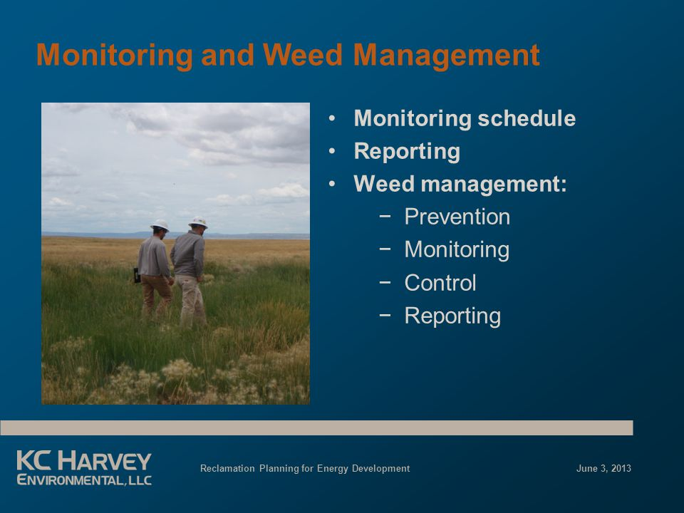Reclamation Planning for Energy Development June 3, 2013 Monitoring and Weed Management Monitoring schedule Reporting Weed management: −Prevention −Monitoring −Control −Reporting