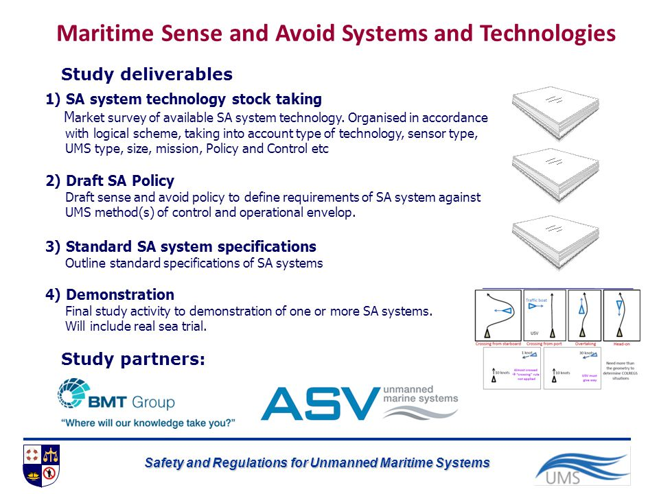 Safety and Regulations for Unmanned Maritime Systems 1) SA system technology stock taking M arket survey of available SA system technology. Organised