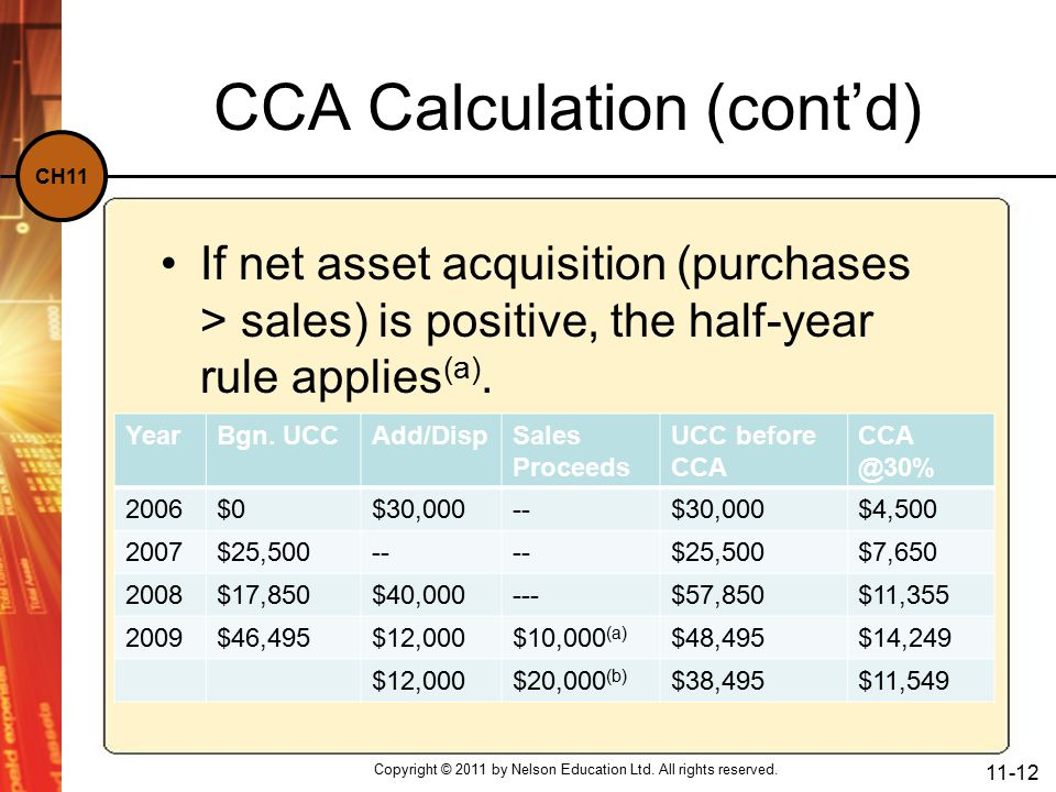 CH11 CCA Calculation (cont'd) If net asset acquisition (purchases > sales) is positive, the half-year rule applies (a).