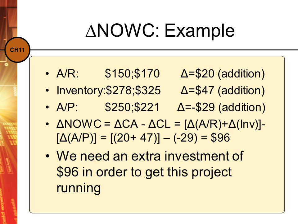 CH11 ∆NOWC: Example A/R:$150;$170 Δ=$20 (addition) Inventory:$278;$325 Δ=$47 (addition) A/P:$250;$221 Δ=-$29 (addition) ΔNOWC = ΔCA - ΔCL = [Δ(A/R)+Δ(Inv)]- [Δ(A/P)] = [(20+ 47)] – (-29) = $96 We need an extra investment of $96 in order to get this project running