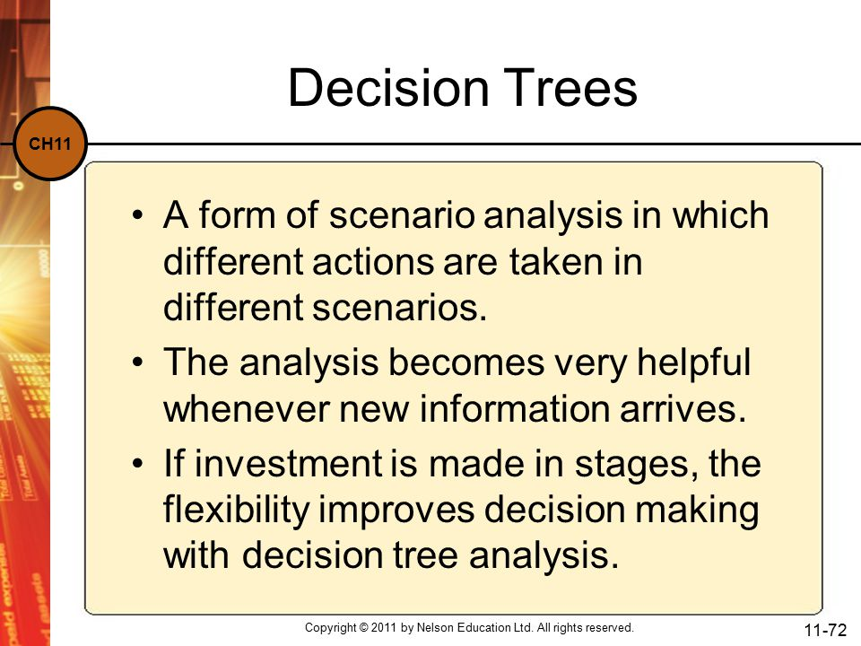 CH11 Decision Trees A form of scenario analysis in which different actions are taken in different scenarios.