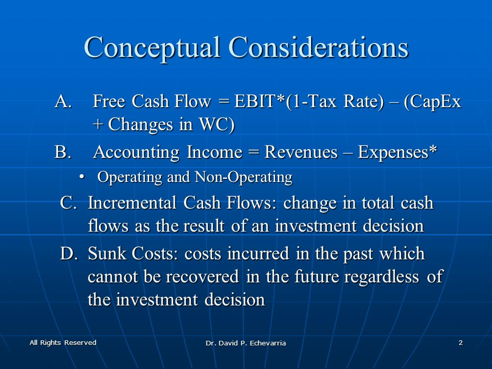 Conceptual Considerations A.Free Cash Flow = EBIT*(1-Tax Rate) – (CapEx + Changes in WC) B.Accounting Income = Revenues – Expenses* Operating and Non-Operating Operating and Non-Operating C.Incremental Cash Flows: change in total cash flows as the result of an investment decision D.Sunk Costs: costs incurred in the past which cannot be recovered in the future regardless of the investment decision All Rights Reserved Dr.