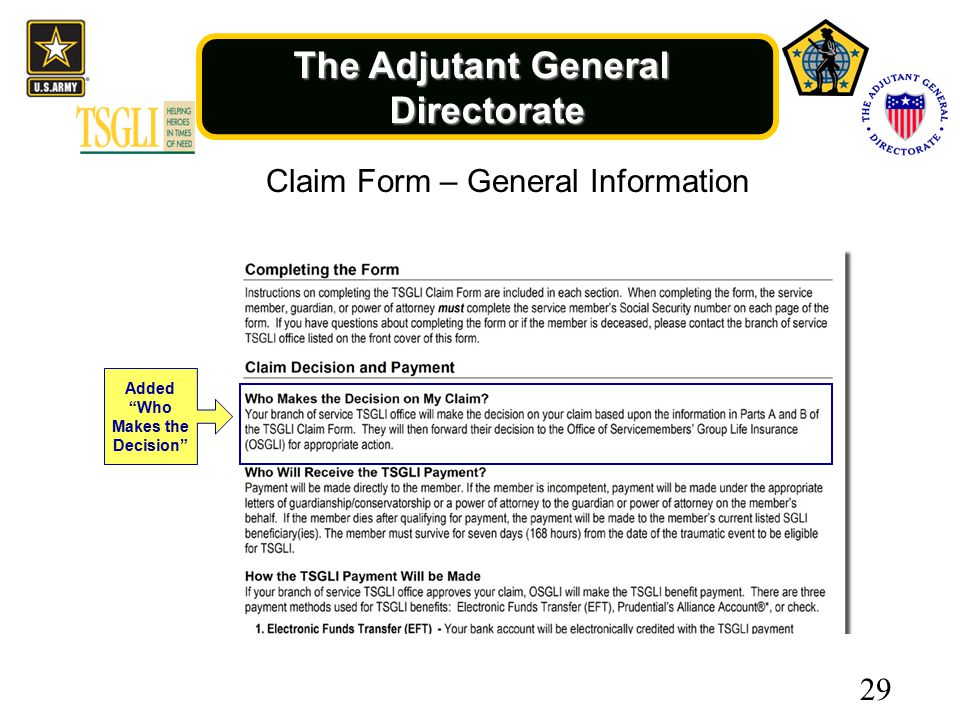 The Adjutant General Directorate Added Who Makes the Decision Claim Form – General Information 29