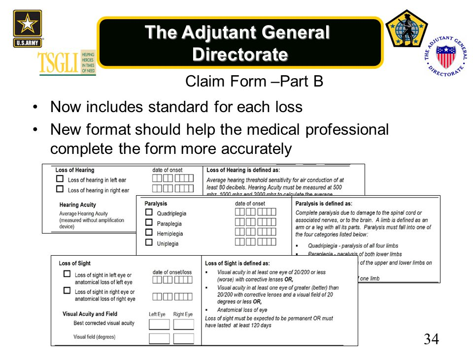 The Adjutant General Directorate Claim Form –Part B Now includes standard for each loss New format should help the medical professional complete the form more accurately 34