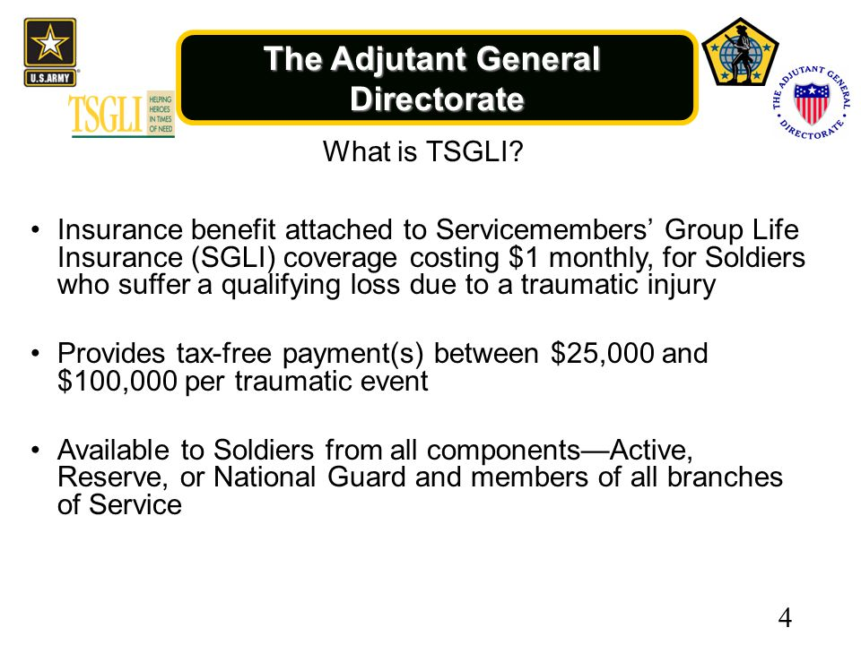 The Adjutant General Directorate 4 What is TSGLI.