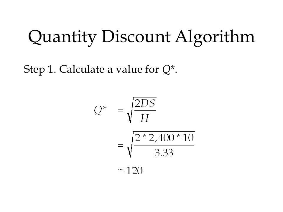 Quantity Discount Algorithm Step 1. Calculate a value for Q *.
