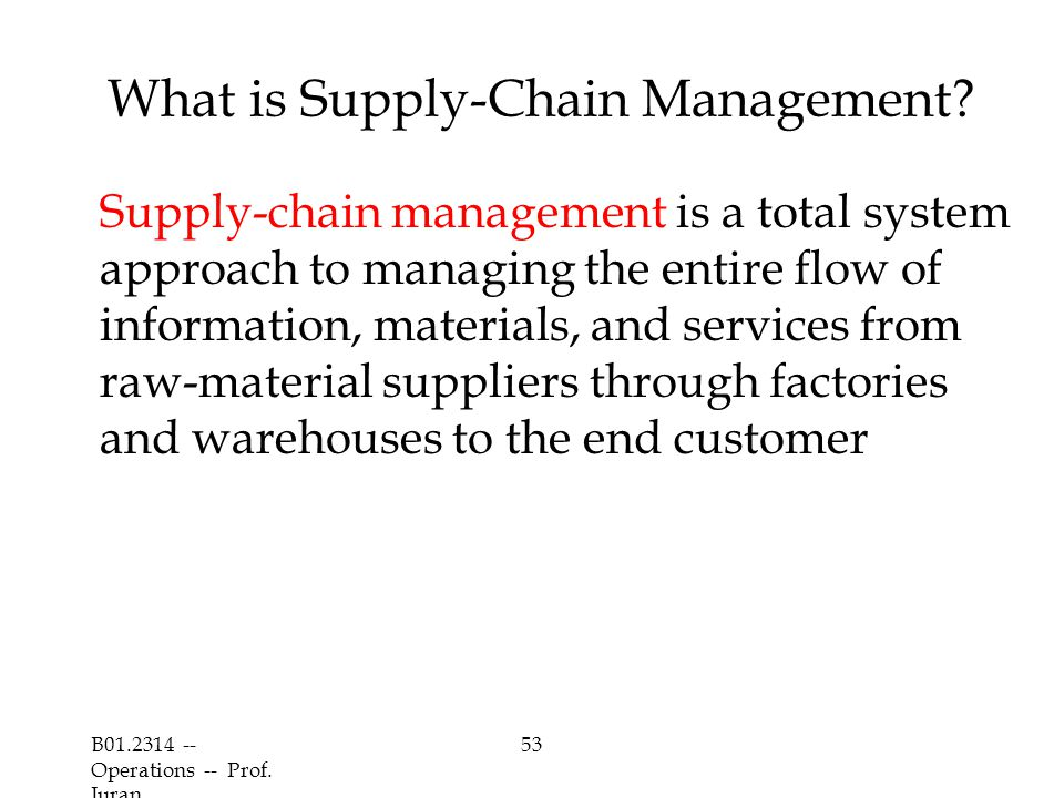 B01.2314 -- Operations -- Prof.Juran 53 What is Supply-Chain Management.