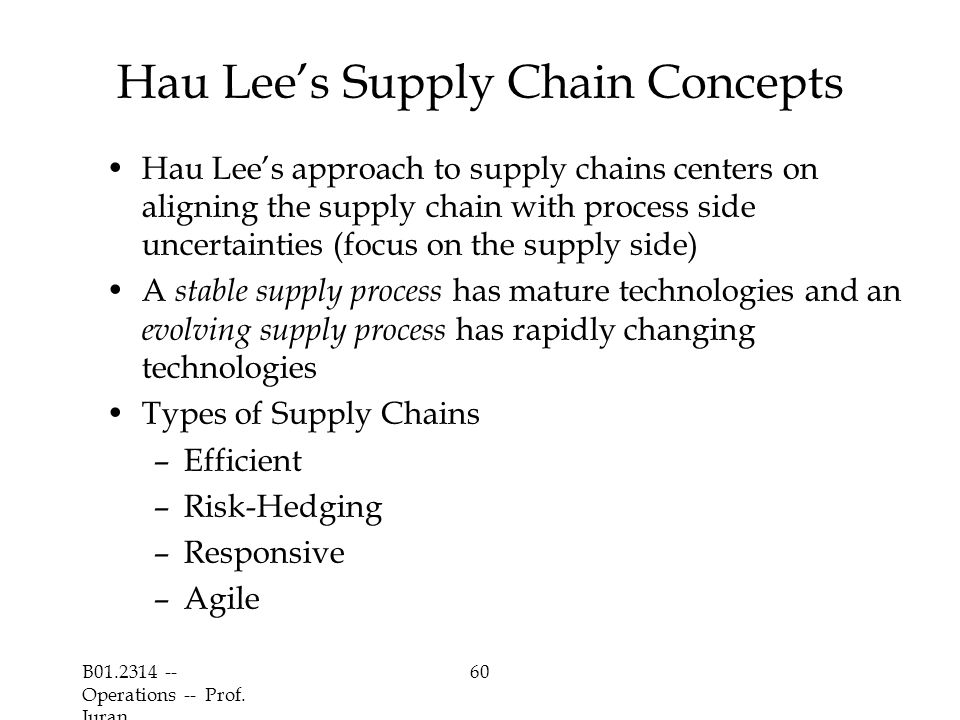 B01.2314 -- Operations -- Prof. Juran 60 Hau Lee's Supply Chain Concepts Hau Lee's approach to supply chains centers on aligning the supply chain with