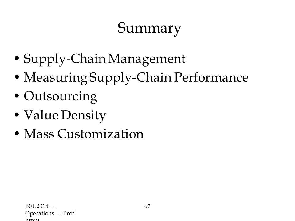 B01.2314 -- Operations -- Prof. Juran 67 Summary Supply-Chain Management Measuring Supply-Chain Performance Outsourcing Value Density Mass Customizati