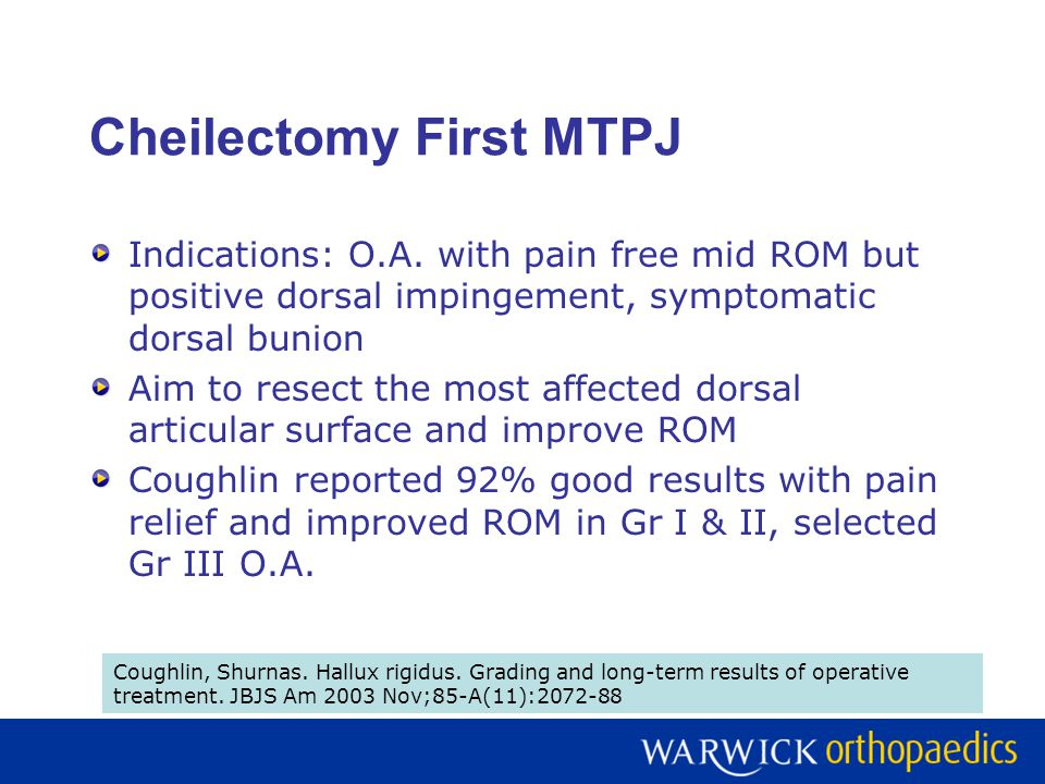Cheilectomy First MTPJ Indications: O.A.