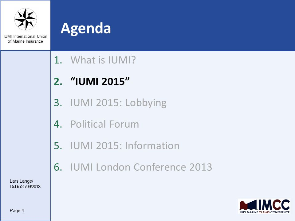IUMI International Union of Marine Insurance 4.