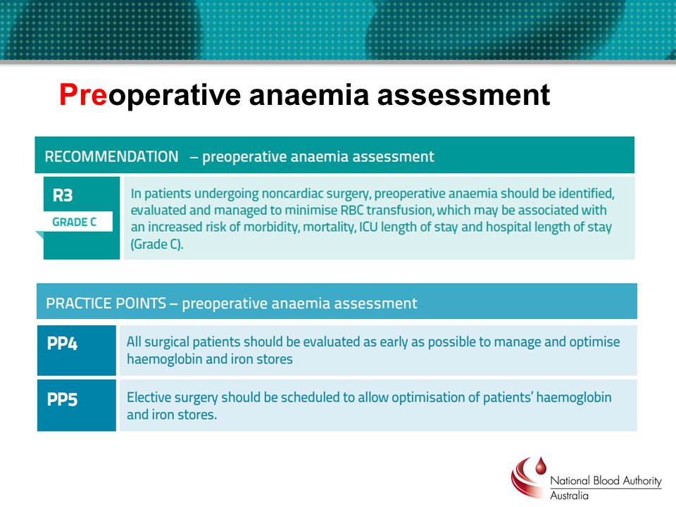 Preoperative anaemia assessment